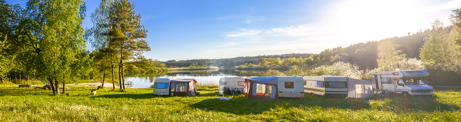 Community of RV's by the river